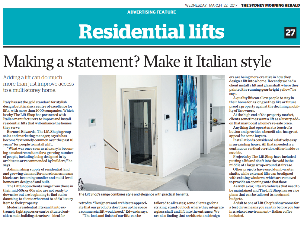 Residential Lifts – Making a statement? Make it Italian style